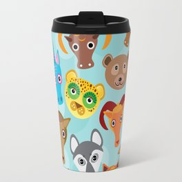Seamless pattern cute face funny animals on blue background. Vector Travel Mug