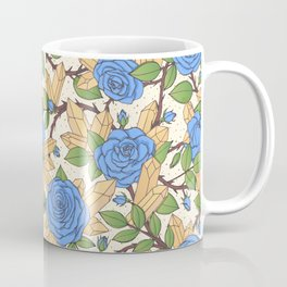 Blue Roses and Crystals Pattern Coffee Mug