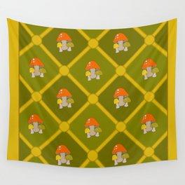 Retro Mushrooms Wall Tapestry