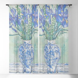 Iris Bouquet in Chinoiserie Vase on Blue and White Striped Tablecloth on Painterly Mint Green Sheer Curtain