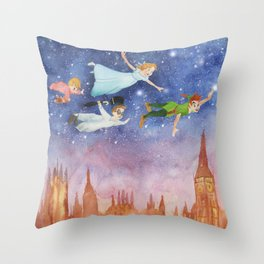 Peter Pan Sunset Nursery Decor Throw Pillow