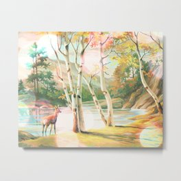 Paint by Number Doe with Birch Trees Metal Print