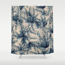 Ancona feathers - smooth beige with blue Shower Curtain