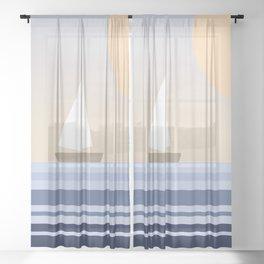 Geometric sailing design Sheer Curtain