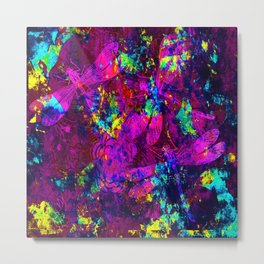 Colorful Dragonflies ZZ Q Metal Print