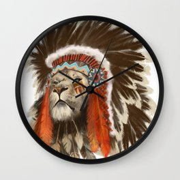 Lion Chief Wall Clock
