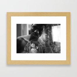 Man and the train Framed Art Print
