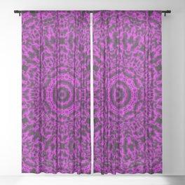 Pink Plasma Mandala Pattern Sheer Curtain