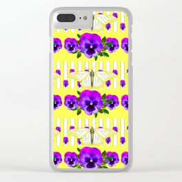 YELLOW-WHITE BUTTERFLIES PURPLE PANSY PATTERNS Clear iPhone Case