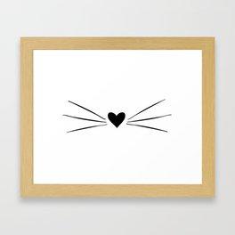 Cat Heart Nose & Whiskers Framed Art Print
