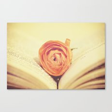 {Old Book and Ranunculus} Canvas Print