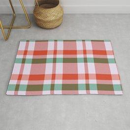 Christmas Plaid Tartan Textured Pattern Rug