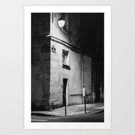 Paris at night | Parisian Building in Marais | Black and white | Travel Photography  Art Print