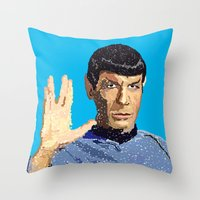 spock Throw Pillows featuring Spock by Connor Corbett