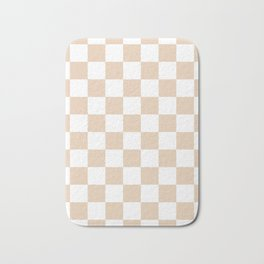 Checkered - White and Pastel Brown Bath Mat