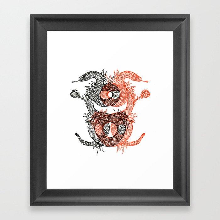 Two Serpents Framed Art Print