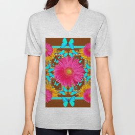 Coffee Brown Pink Flower Blue Butterfly Floral Art Unisex V-Neck