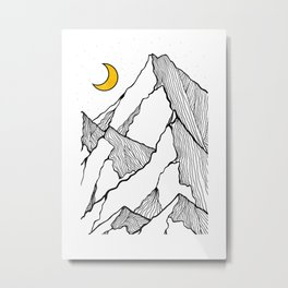 Line mountains of the crescent moon Metal Print