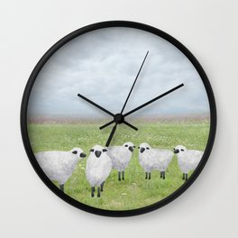 sheep and queen anne's lace Wall Clock