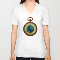 pocket V-neck T-shirts featuring Cosmic Pocket Watch by badOdds