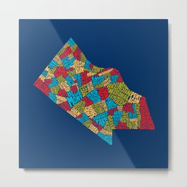 Typographic Map of Arlington County (Color) Metal Print
