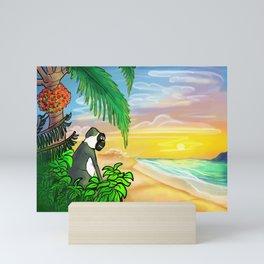 Green Vervet Monkey Nevis Sunset Mini Art Print