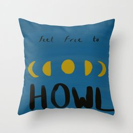 Moon Howler Throw Pillow