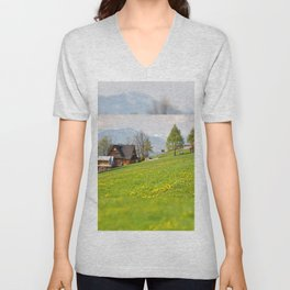 Bucolic spring meadow and house Unisex V-Neck