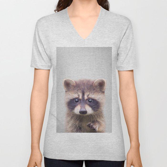 Raccoon - Colorful Unisex V-Neck