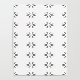 Simple White Grey Flowers Poster