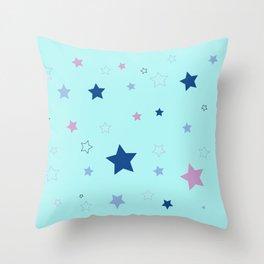 Little blue stars Throw Pillow