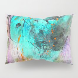 Hand painted teal orange black watercolor Pillow Sham