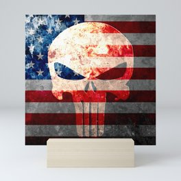 Skull and American Flag on Distressed Metal Mini Art Print