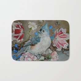 Blue Titmouse and Bee with floral still life Bath Mat