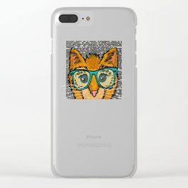 Orange Kitty Cat Clear iPhone Case