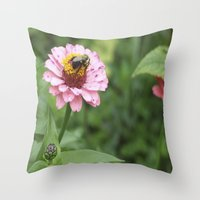 rileigh smirl Throw Pillows featuring Flower and Bee by Rileigh Smirl