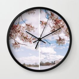 Washington DC Cherry Blossoms - Diptych Wall Clock