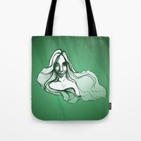 emerald Tote Bags featuring Emerald by Sam Pea