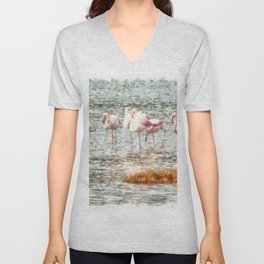Six Flamingos A Wading Watercolor Unisex V-Neck