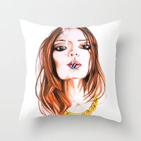 cigarette Throw Pillows featuring E Cigarette  by Liz Slome