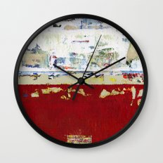Ragged Glory Red Abstract Landscape Wall Clock