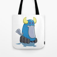 platypus Tote Bags featuring DUCKWHEEL PLATYPUS by Erick Sulaiman
