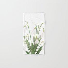 white snowdrop flower watercolor Hand & Bath Towel