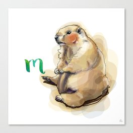Alphabetical Animals – M for Marmot Canvas Print