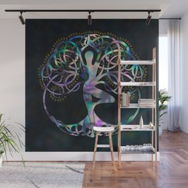Glowing symbol for Vriksasana - Yoga Tree pose Wall Mural