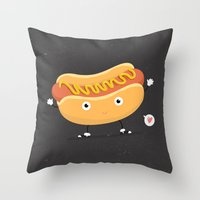 hot dog Throw Pillows featuring Hot Dog by Céline Dscps