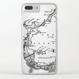 Vintage Map of Bermuda (1901) BW Clear iPhone Case