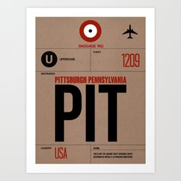 PIT Pittsburgh Luggage Tag 1 Art Print