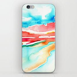 fire in the sky - beach at sunset iPhone Skin