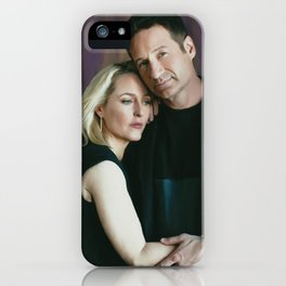 Gillian Anderson and David Duchovny oil color painting iPhone Case